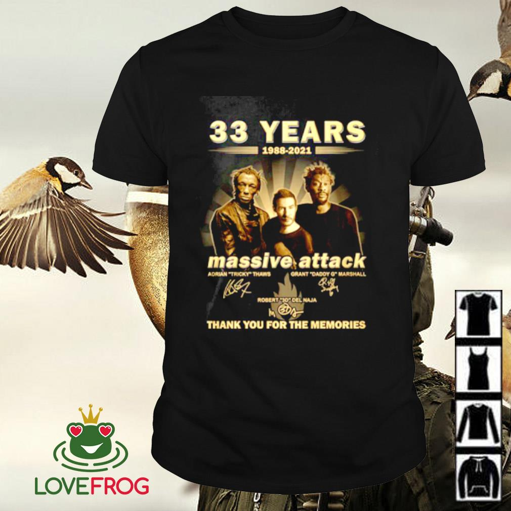 33 Years 1988-2021 Massive Attack thank you for the memories signature shirt