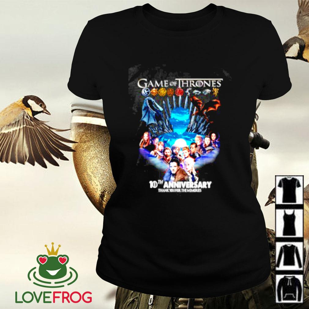 Game of Thrones 10th aniversary thank you for the memories Ladies-tee