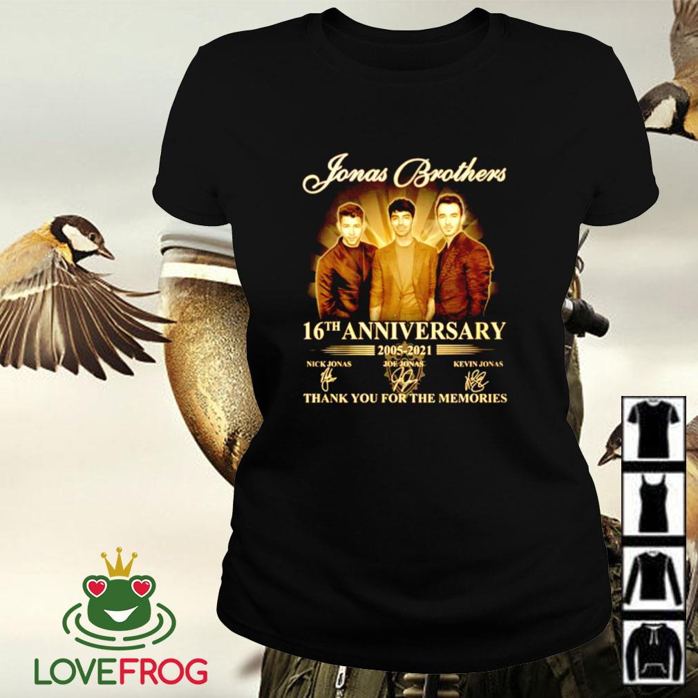 Jonas Brothers 16th anniversary 2005-2021 thank you for the memories signature Ladies-tee