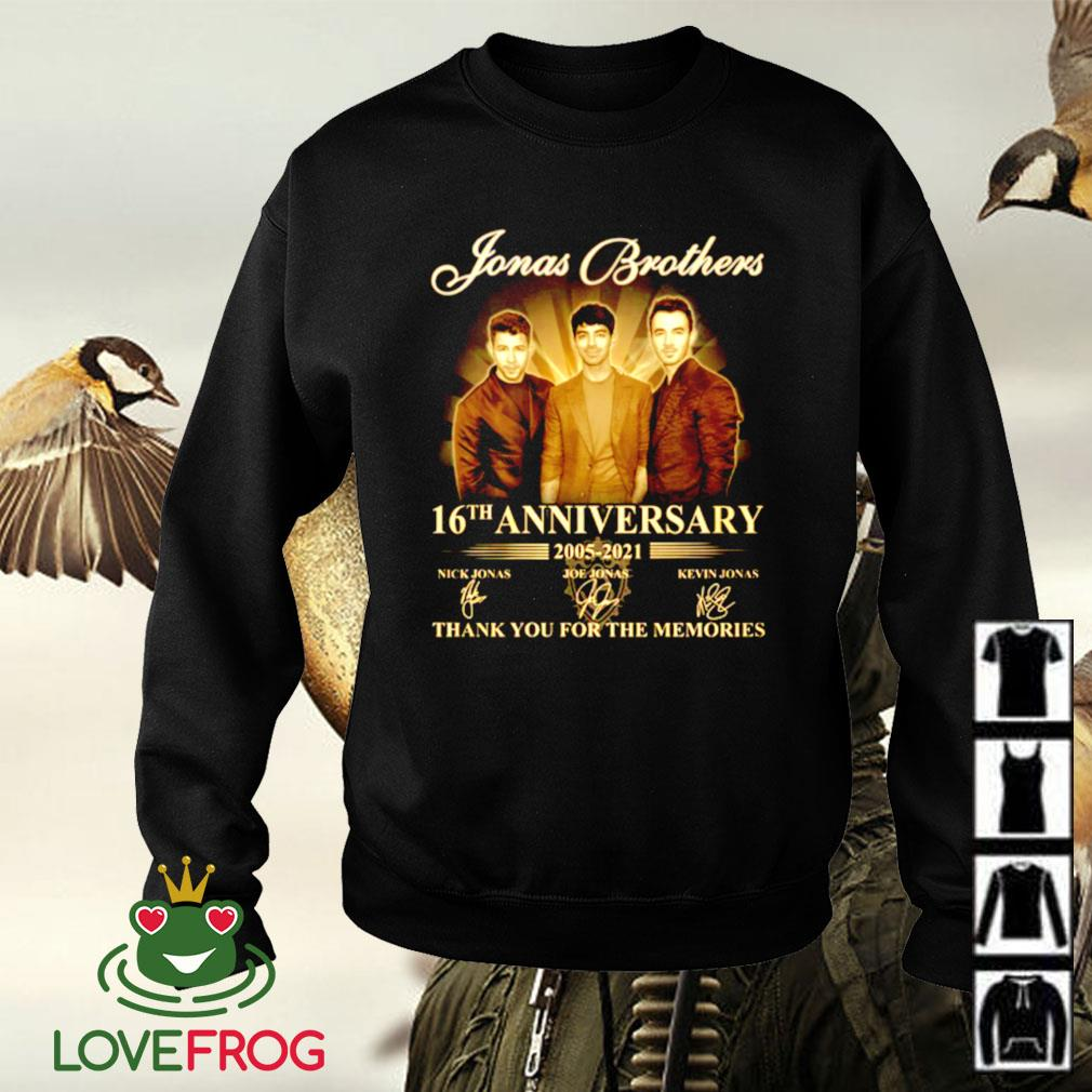 Jonas Brothers 16th anniversary 2005-2021 thank you for the memories signature Sweater