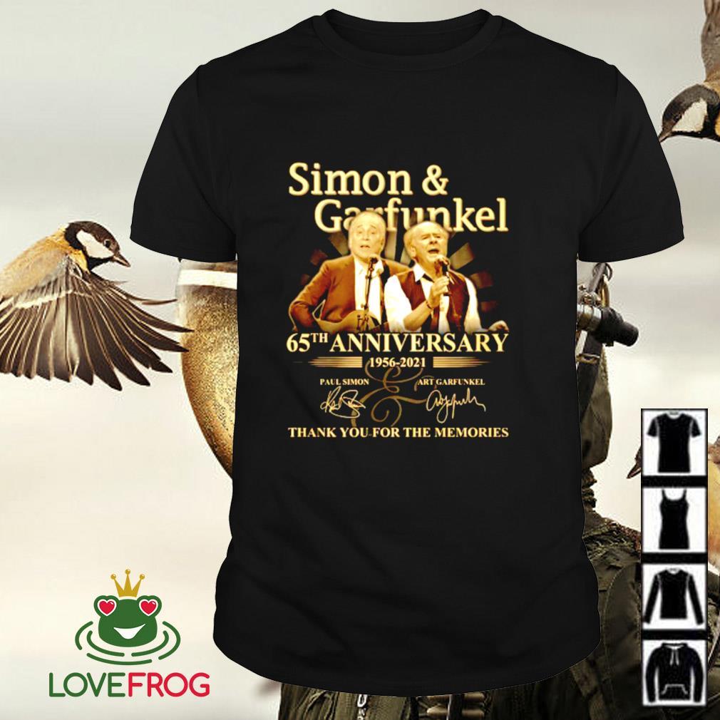 Simon garfunkel 65th anniversary 1956-2021 thank you for the memories signature shirt
