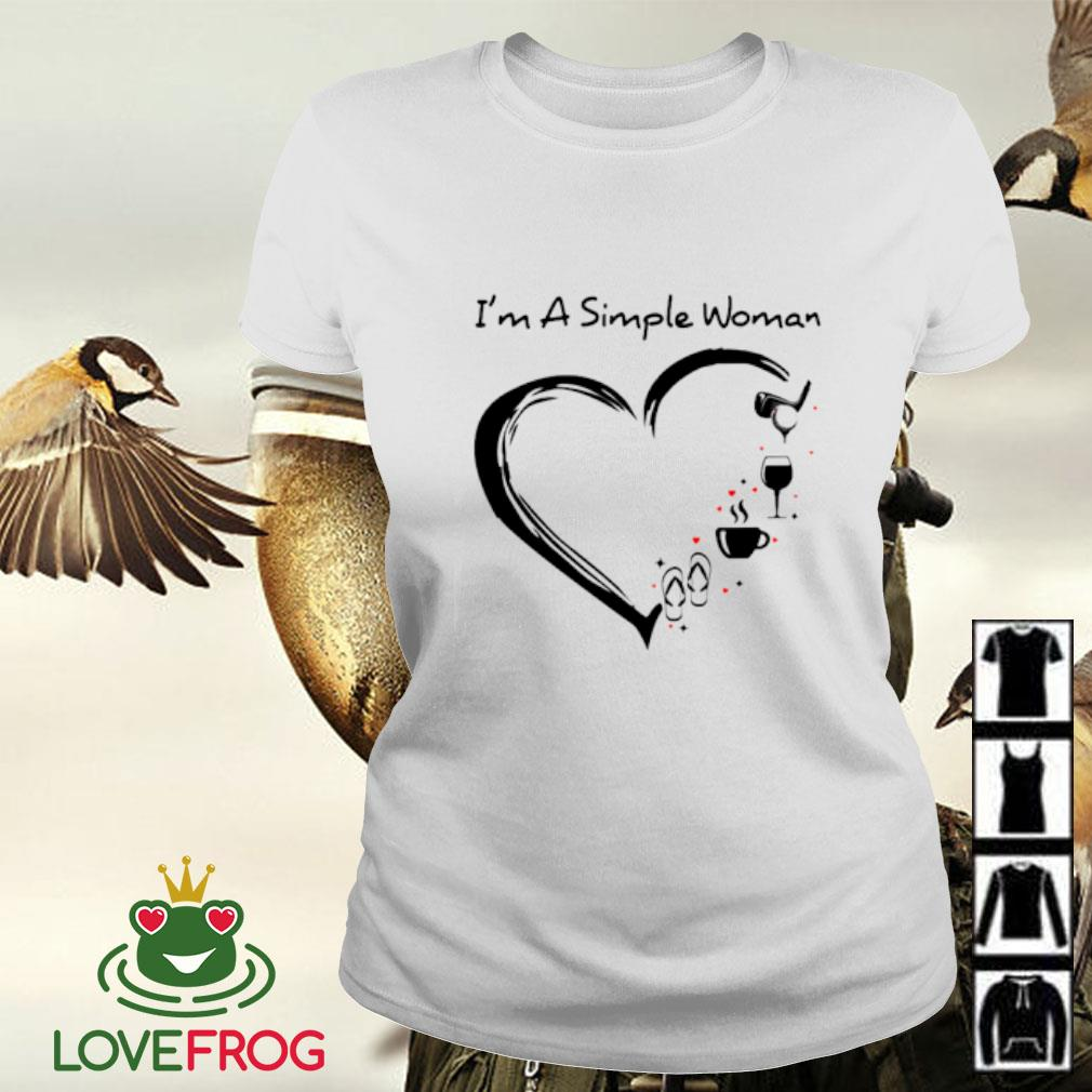 I'm a simple woman flip flop coffee wine and golf Ladies-tee