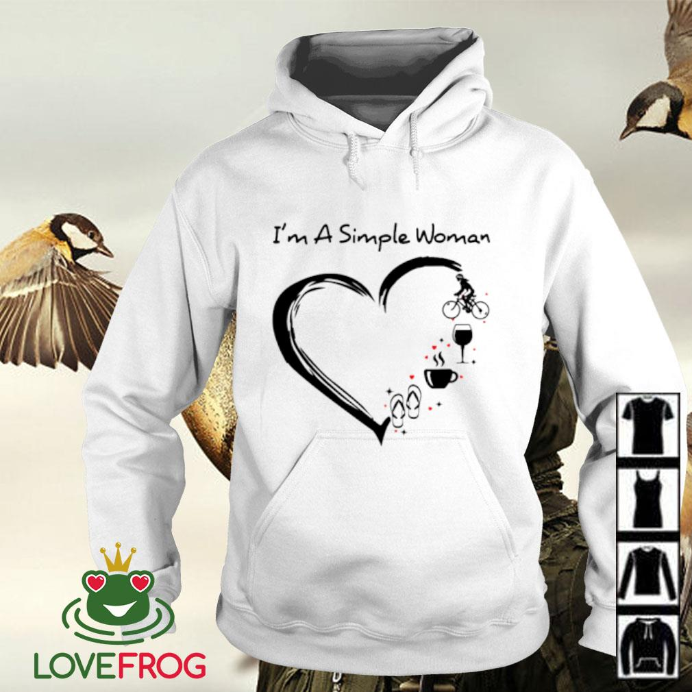 I'm a simple woman flip flop coffee wine cycling Hoodie