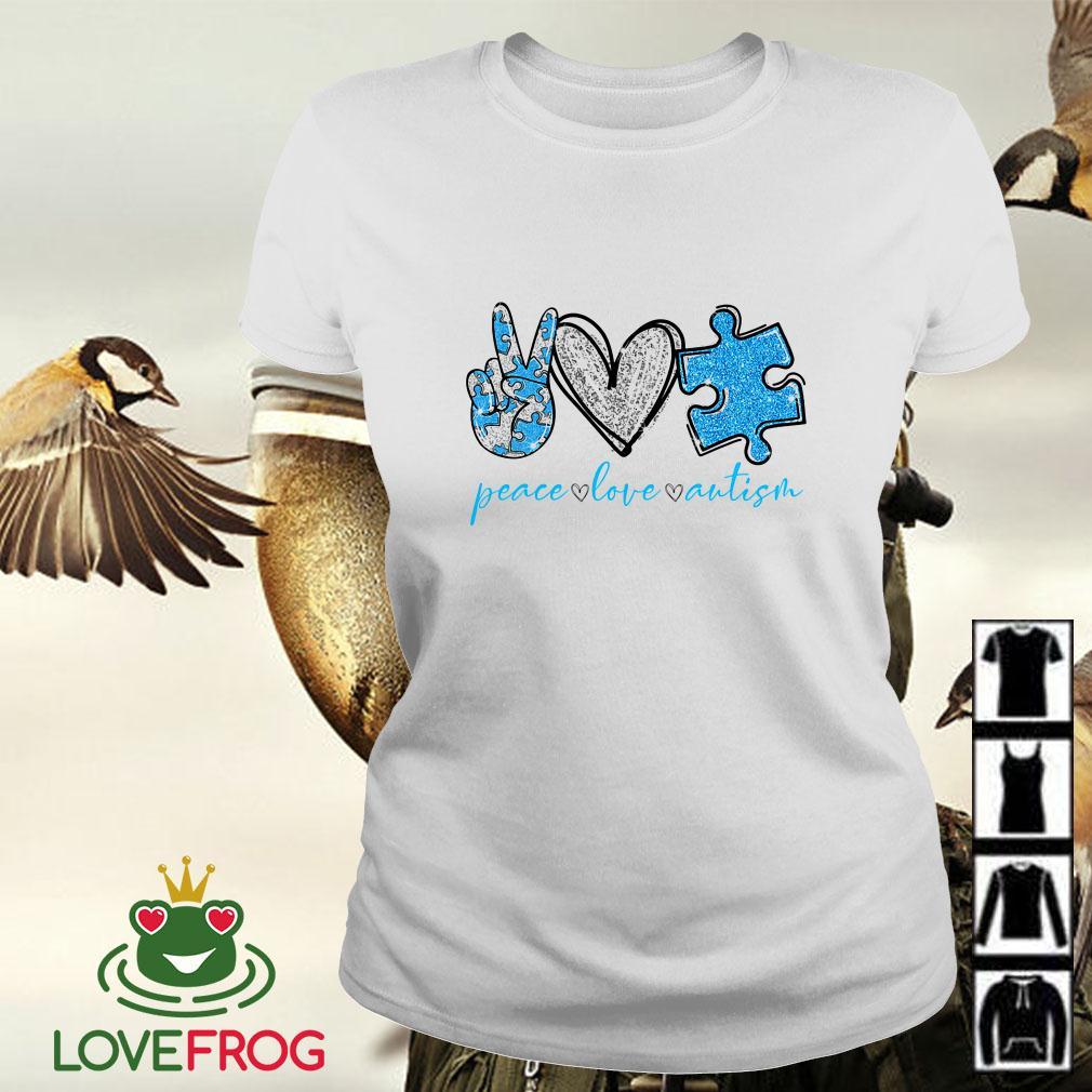 Peace Love Autism Awareness Ladies tee
