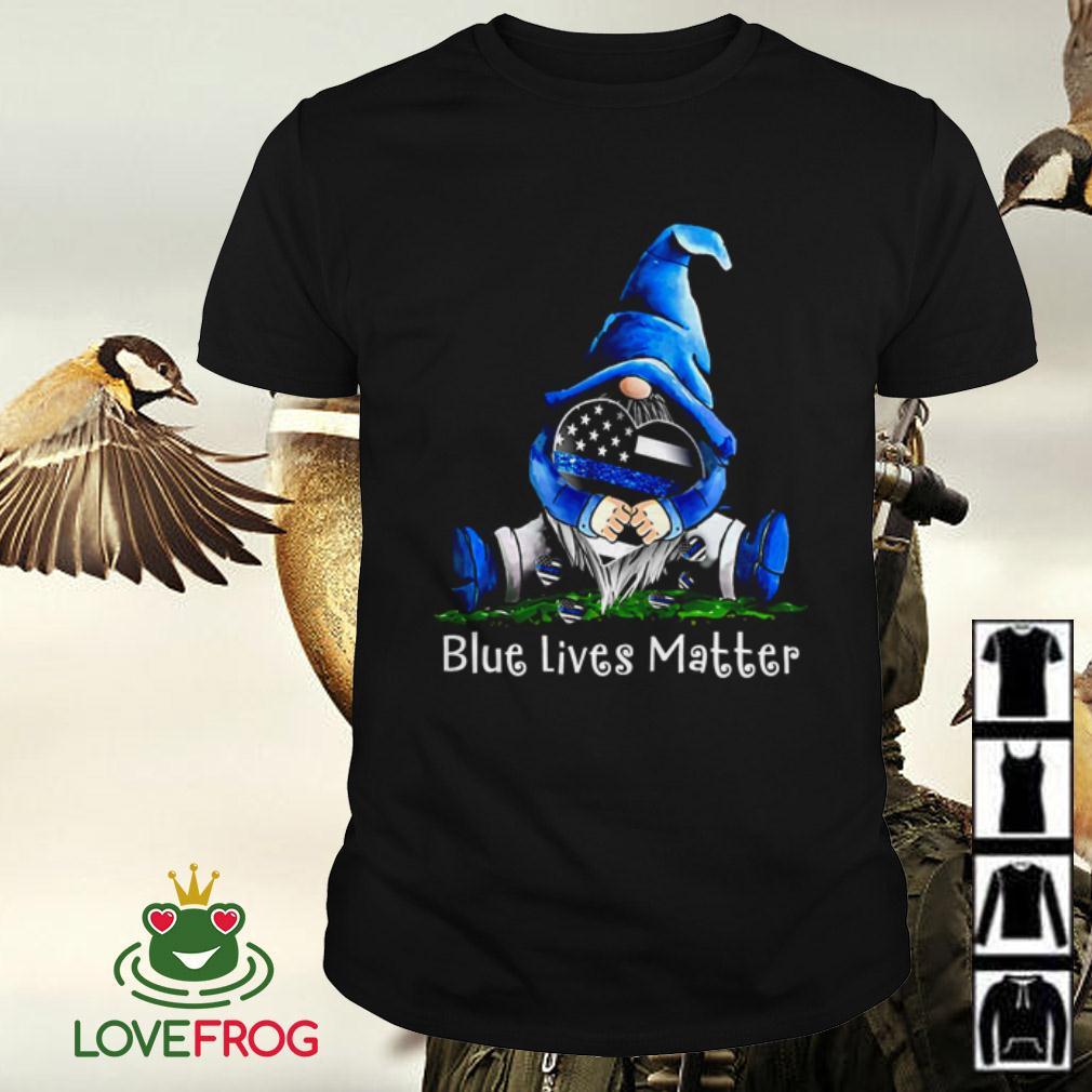Gnome hugging Thin Blue Line heart Blue lives matter shirt