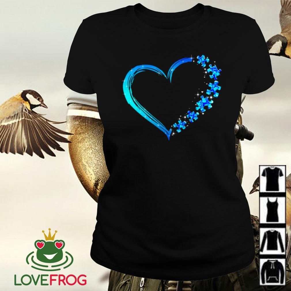 Love Autism heart Ladies tee