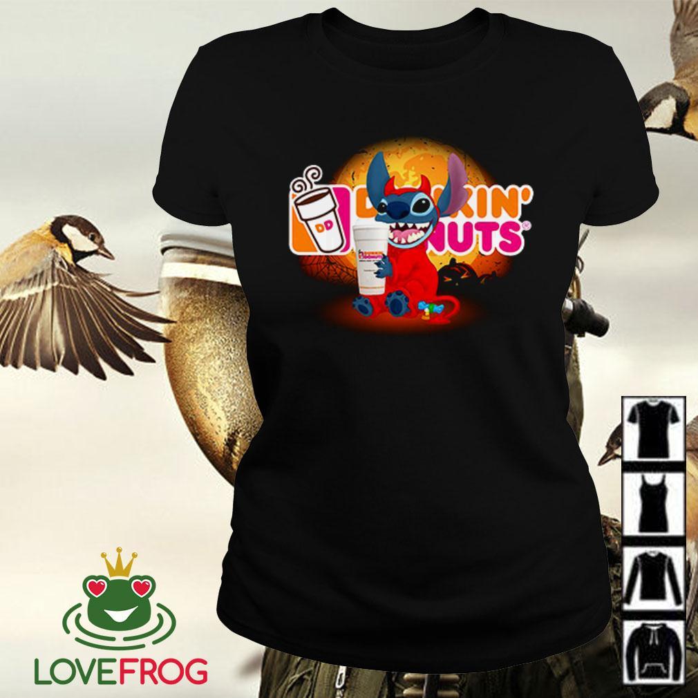 Stitch hugging Dunkin' Donuts Halloween Ladies tee