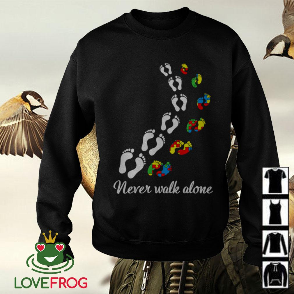 Autism footprint never walk alone Sweater