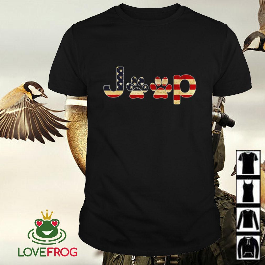 American flag Jeep dog paw shirt