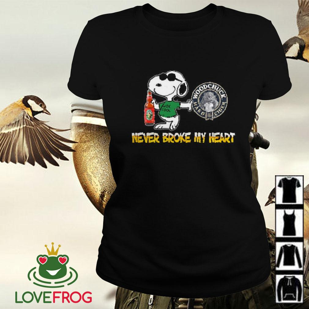 Snoopy Woodchuck Hard Cider never block my heart Ladies tee