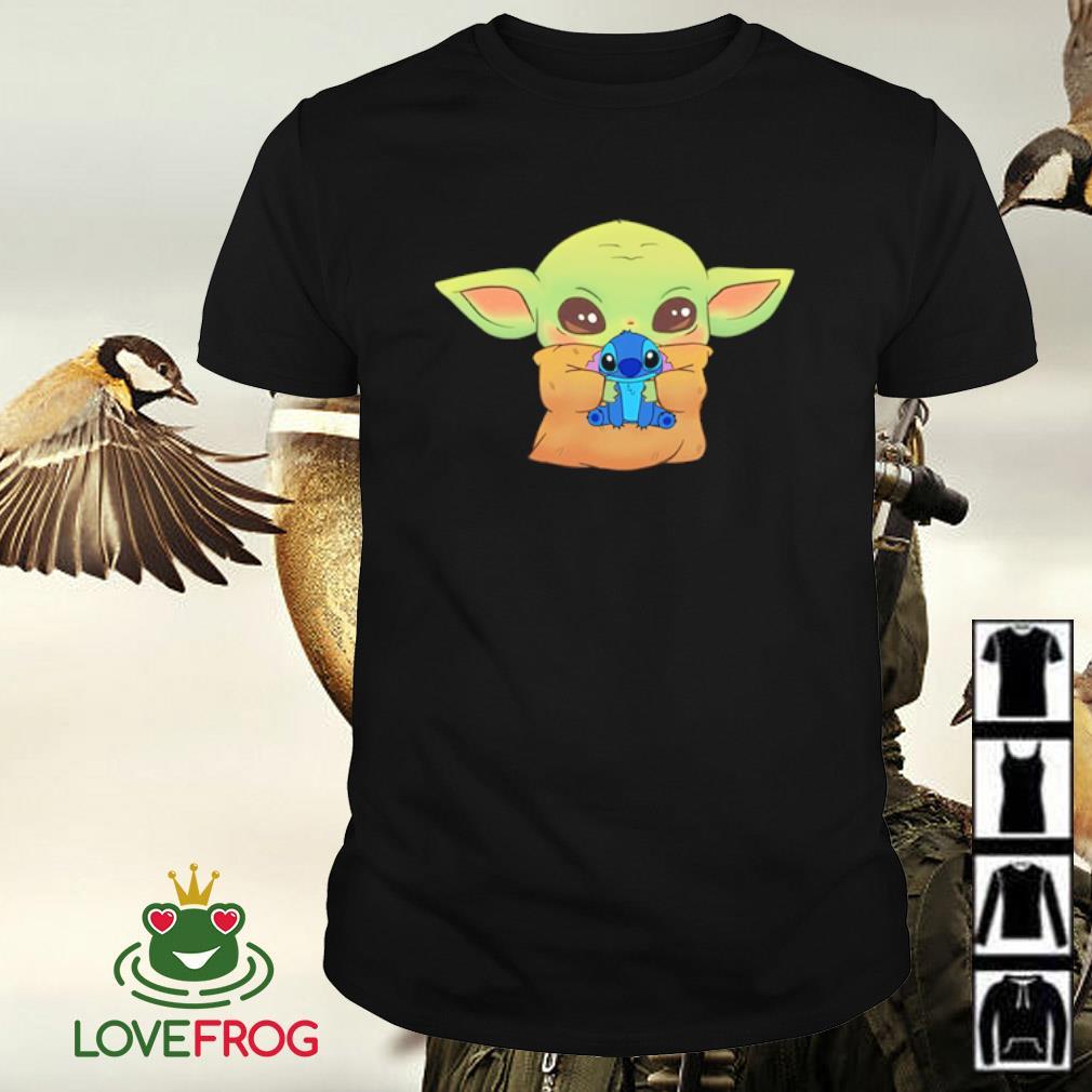 Disney Baby Yoda hug Baby Stitch shirt