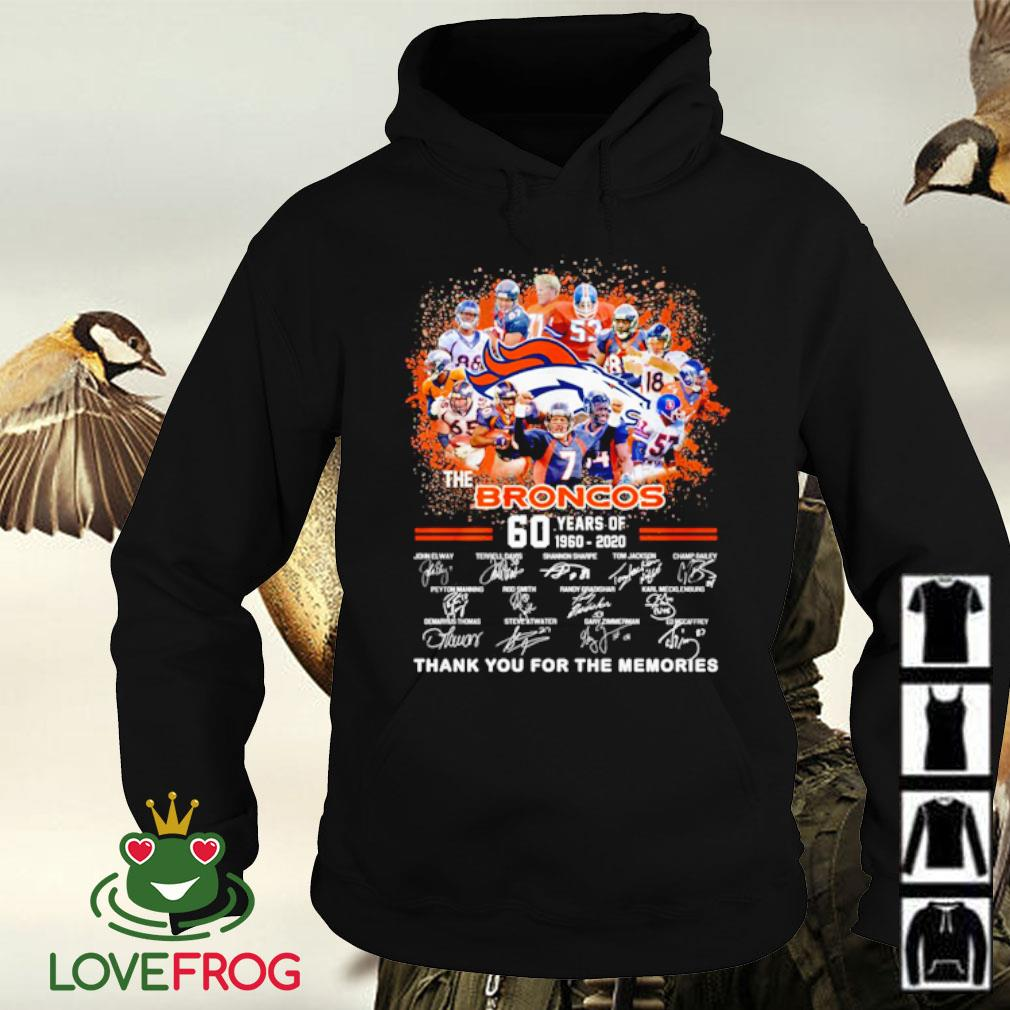 The broncos 60 years of 1960 2020 signatures thank you for the memories s Hoodie