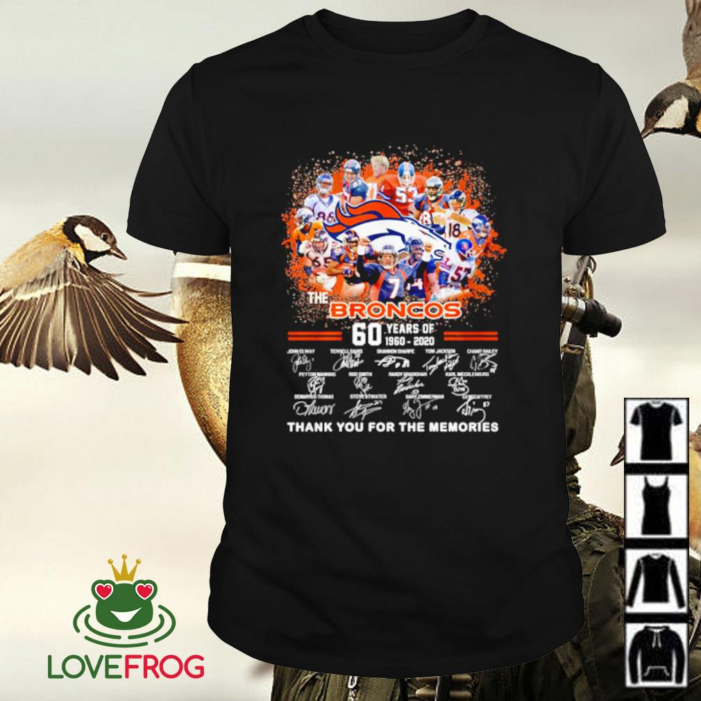 The broncos 60 years of 1960 2020 signatures thank you for the memories shirt