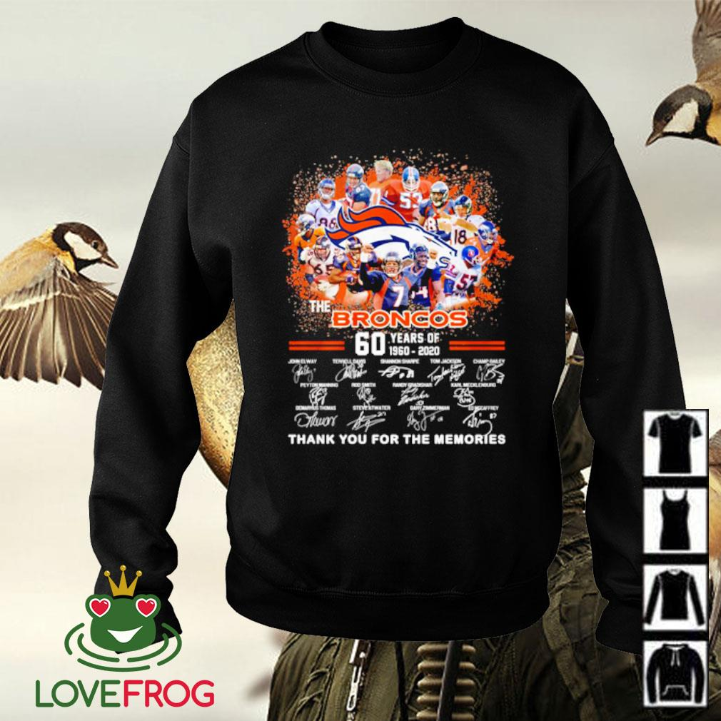 The broncos 60 years of 1960 2020 signatures thank you for the memories s Sweater