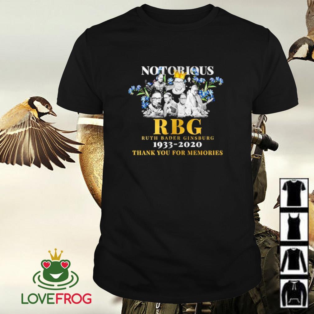 Notorious RBG Ruth Bader Ginsburg 1933 2020 thank you for memories shirt