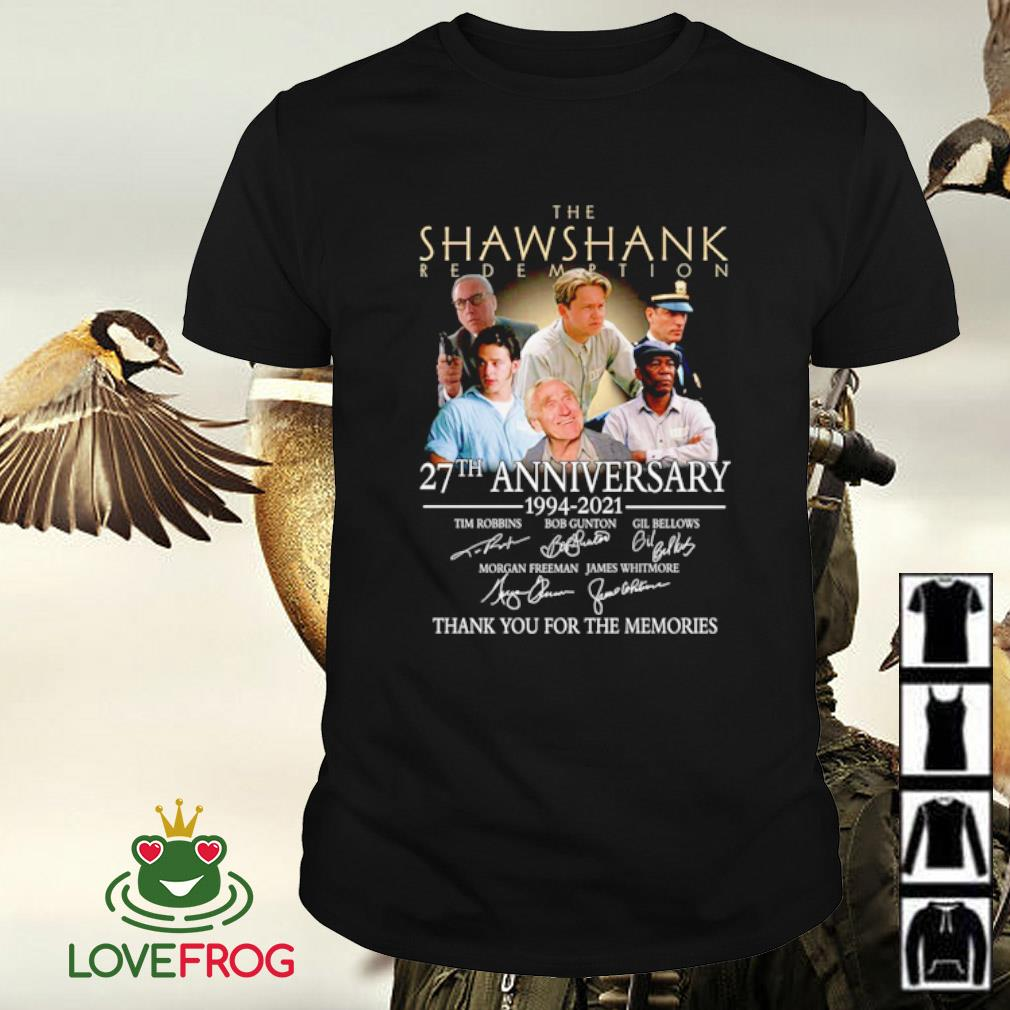 The Shawshank Redemption 27th anniversary 1994 2021 thank you for the memories signatures shirt